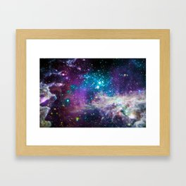 Colorful Sparkling Stars Nursery Framed Art Print
