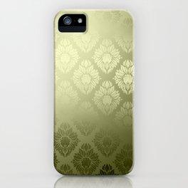 """Olive Damask Pattern"" iPhone Case"