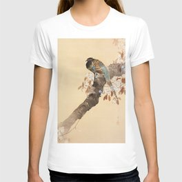 Pheasant on the cherry tree - Japanese vintage woodblock print T-shirt