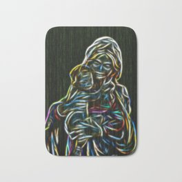 Mother and child neon glow - by Brian Vegas Bath Mat