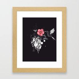 Hummingbird and heart with flower Framed Art Print