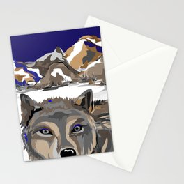 """""""Lone Wolf"""" Paulette Lust's Original, Contemporary, Whimsical, Colorful Art  Stationery Cards"""
