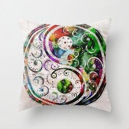 Yin Yang Zen Art Abstract Paintings Modern Watercolor Robert R Splashy Art Throw Pillow