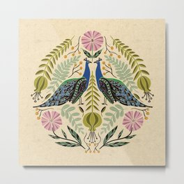Peacock Illustration // Hand Drawn Birds and Folk Art Flowers // Green, Pink, Blue Metal Print