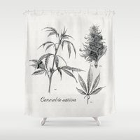 cannabis Shower Curtains featuring Cannabis sativa by 420Illustrations