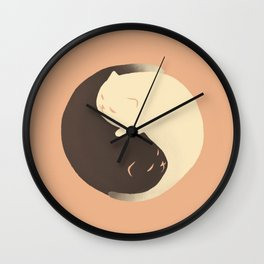 Hidden cat 9 Yin Yang kitty Wall Clock