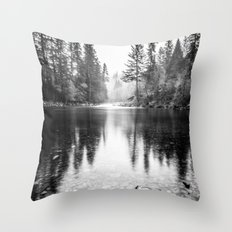 Forest Reflection Lake - Black and White Nature Water Reflection Throw Pillow