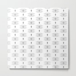 Pastel gray white abstract geometrical tribal pattern Metal Print