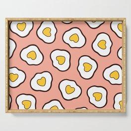 Heart Shaped Fried Eggs Pattern Serving Tray