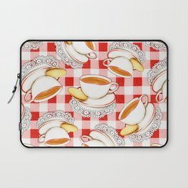 Cup of Tea, a Biscuit and Red Gingham Laptop Sleeve