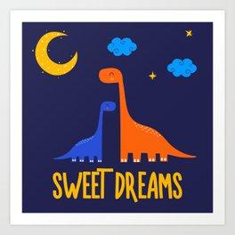 Dinosaurs At Night Blue Orange Green Dinosaur Kids Pattern Art Print