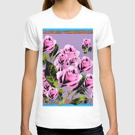 Pink -Black Color  Roses  Lavender Garden Pattern Blue Art T-shirt