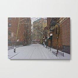 Snowy street Greenwich Village NYC Metal Print