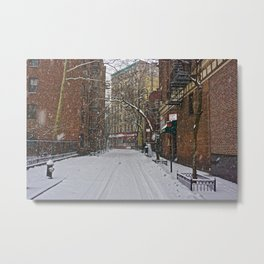 Snowy street Greenwich Village NYC Metal Print