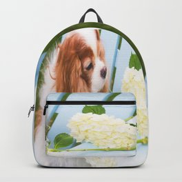 Cavalier King Charles With Hydrangeas Backpack