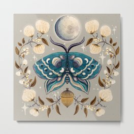 Autumn Full Moon Moth - Grey + Teal Metal Print