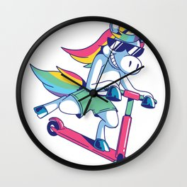 Unicorn on scooter Wall Clock