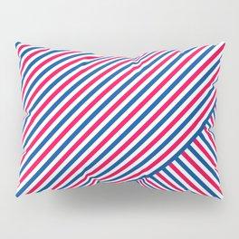 Red White and Blue Diagonal Stripes Pillow Sham