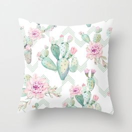 Cactus Chevron Southwestern Watercolor Throw Pillow
