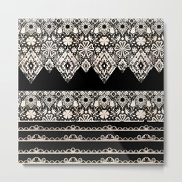 Seamless lace lacy washi tapes ribbon pattern on black background texture Metal Print