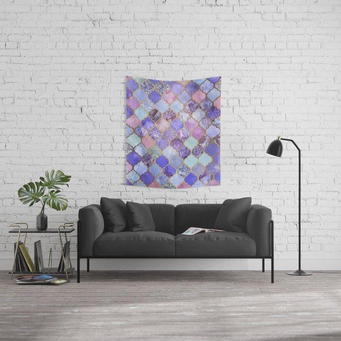 Royal Purple, Mauve & Indigo Decorative Moroccan Tile Pattern Wall Tapestry