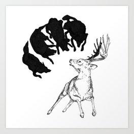 Deer hunted by Wolves Art Print