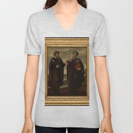 SS. Cosmas and Damian in a landscape. Oil painting, 17th c. v Unisex V-Neck