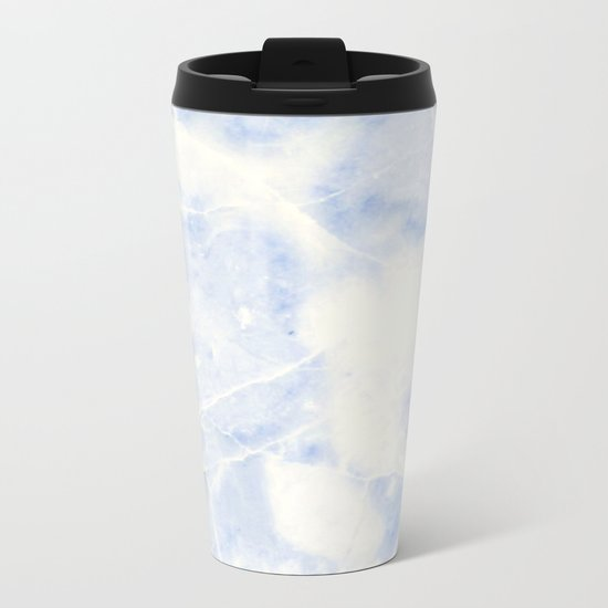 Blue and White Marble Waves Metal Travel Mug
