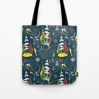 skiing Tote Bags featuring Retro Skiing  by beach please