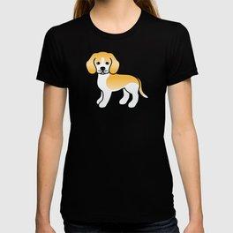 Cute Lemon And White Beagle Dog Cartoon Illustration T-shirt