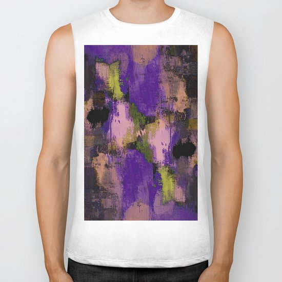 Abstract Nature - Textured, blue, yellow, pink, lilac, purple, black and orange painting Biker Tank