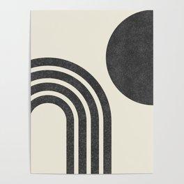 Mid century modern - Sun & Rainbow black Poster