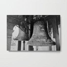 Church Bells, Piran, Mediterranean Sea, Film Photo, Black and White Metal Print