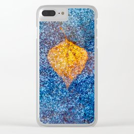 Yellow leaf under the ice Clear iPhone Case