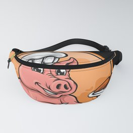 Cute pig chef cartoon with meat plate Fanny Pack