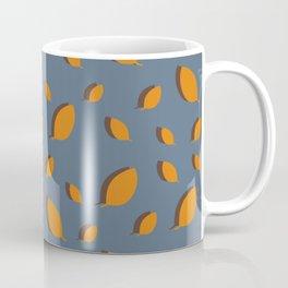 Fall pattern mustard brown leaves on blue Coffee Mug