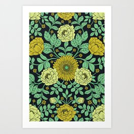 Seafoam Green, Chartreuse, Mustard Yellow & Navy Blue Floral Pattern Art Print