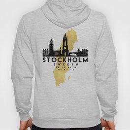 STOCKHOLM SWEDEN SILHOUETTE SKYLINE MAP ART Hoody
