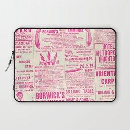 Old Tyme Newspaper Pink Laptop Sleeve
