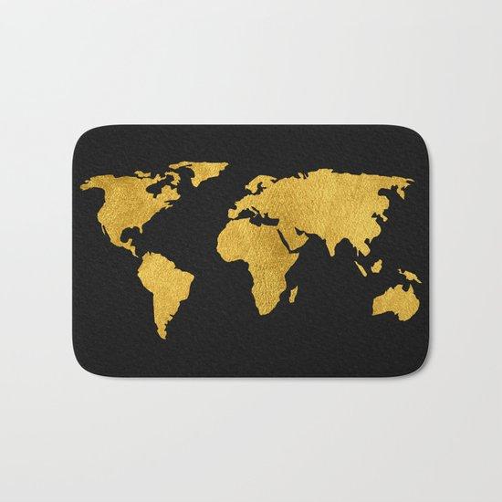 Metallic Gold Foil World Map On Black Bath Mat