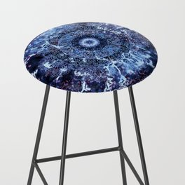 Iris Mandala Blue Bar Stool