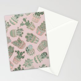 Blush pink mint green rose gold cactus floral Stationery Cards