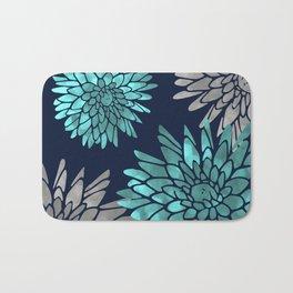 Floral Chrysanthemum Modern Navy Aqua Bath Mat
