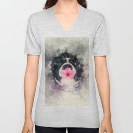 Dog with Flower Unisex V-Neck