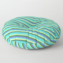 Turquoise, Beige, Forest Green, and Slate Blue Colored Lines/Stripes Pattern Floor Pillow