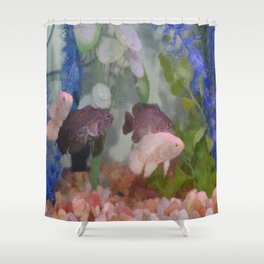 Four Oscars swimming in an aquarium (Painted) Shower Curtain