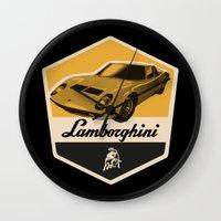 lamborghini Wall Clocks featuring Lamborghini Miura by Liviu Antonescu
