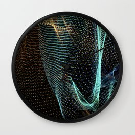Abstract colorful lines on dark background. Patterns made with lightpainting. Wall Clock