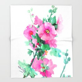Hollyhock Pink Flowers vintage floral design Throw Blanket