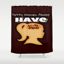 Pretty Women Have Screws Loose Red Shower Curtain